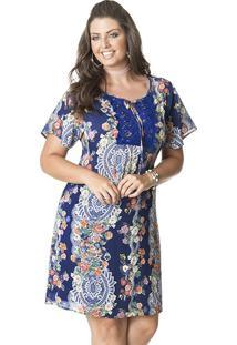 Vestido Curto Plus Size Viscocrepe Little Estampado Azul