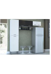 Cozinha Compacta Criz Branco Com Linho Branco E Cp Linho Preto - Kit'S Paraná