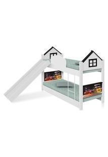 Beliche Infantil Casa Veloz Com Escorregador E Colchões Casah