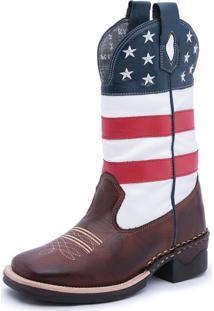 Bota Country Bico Quadrado Texana Pé De Couro Couro -Bandeira