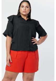Camisa Almaria Plus Size Pianeta Manga Curta Ampla