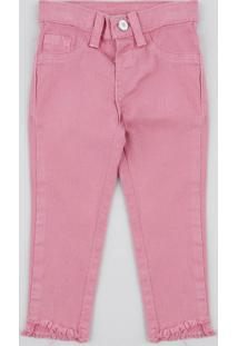 Calça Color Infantil Com Barra Desfiada Rosa Escuro