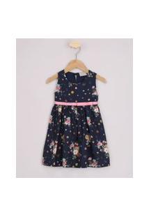 Vestido Infantil Estampado Floral Com Laço Sem Manga Azul Marinho