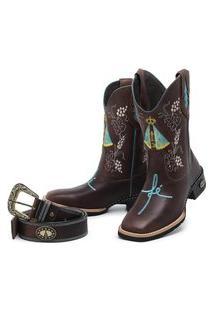 Bota Texana Country Bico Quadrado Cano Bordado + Cinto Candieiros 4419