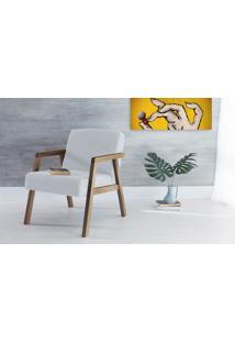 Poltrona Decorativa De Madeira Estofada Com Braços Charlie - Poltrona Para Recepção Cor Cinza Claro - Verniz Capuccino \ Tec.915 - 60X74X84 Cm