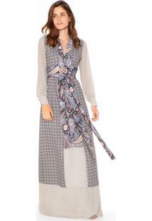 Vestido Longo Estampado Com Decote