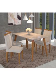 Conjunto De Mesa De Jantar Adele Com Vidro E 4 Cadeiras Laura Linho Off White E Aspen