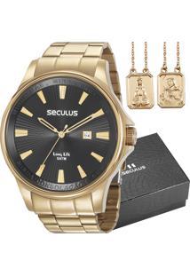 Kit Relógio Seculus Masculino Com Escapulário 35001Gpskda1K1