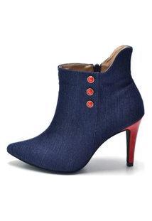 Bota D Rastro Cano Curto Bico Fino Jeans Azul