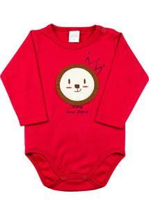 Body Bebê Suedine Ano Zero Leãozinho King Vermelho