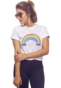Camiseta Baby Look Girl Power - Feminino-Branco