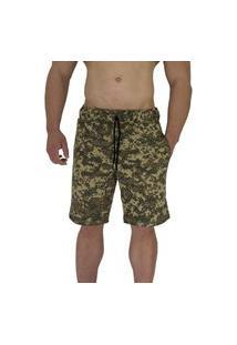 Bermuda Masculina Alto Conceito Moletom Camuflado Quadricular Militar