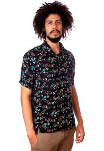 Camisa Andy Roll Brush Floral Preta