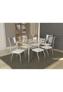 Conjunto Mesa Reno Com 6 Cadeiras Munique Branco E Cromado Kappesberg Crome - Branco - Dafiti