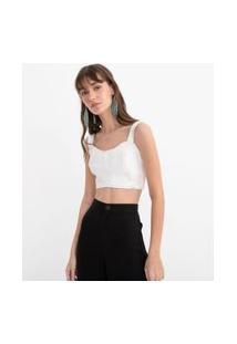 Top Cropped Liso Com Recorte | Blue Steel | Branco | Gg