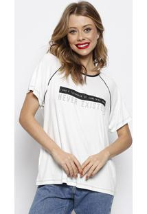 Camiseta Com Inscriã§Ãµes & Recortes- Branca & Preta- Forum
