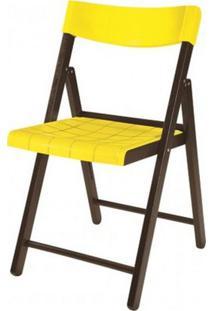 Cadeira Potenza Dobravel Tabaco Com Plastico Amarelo- 20644 - Sun House