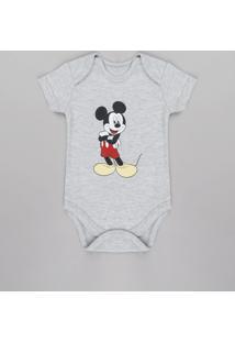 Body Infantil Mickey Manga Curta Cinza Mescla