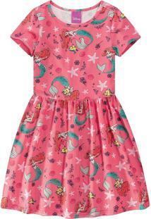 Vestido A Pequena Sereia® Menina Malwee Kids Salmão - 1