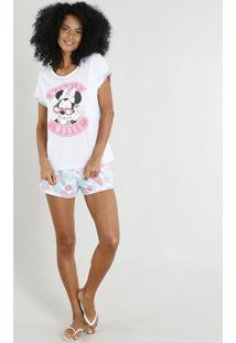 Pijama Feminino Minnie Mouse Manga Curta Cinza Mescla