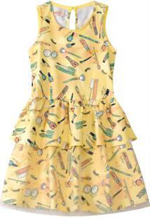 Vestido Amarelo Evasê Com Tule