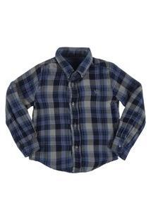 Camisa Masculina Crawling Xadrez Azul