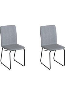 Conjunto Com 2 Cadeiras Hawke Cinza E Preto
