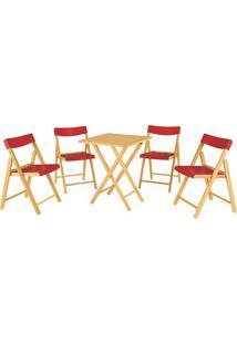 Jogo De Mesa Com Cadeiras Potenza- Natural & Vermelho
