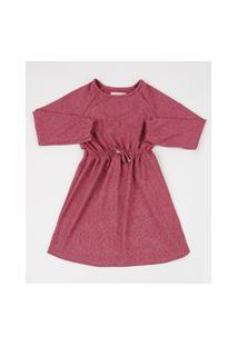 Vestido Infantil Com Brilho Manga Longa Rosa