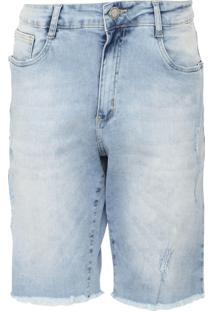 Bermuda Jeans Aeropostale Reta Desfiada Azul