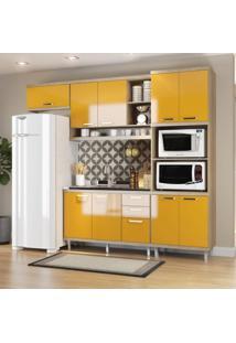 Cozinha Completa Com Balcão Sem Tampo E Torre Quente 4 Peças 9 Portas Sicília Multimóveis Argila/Amarelo