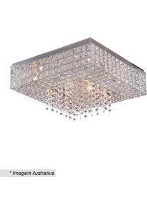 Plafon Quadrado- Cristal & Inox- 22X42X42Cm- Bivhevvy