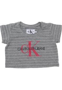 Camiseta Calvin Klein Kids Menina Estampado Cinza