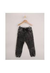Calça Jeans Infantil Jogger Marmorizada Com Cordão Preta