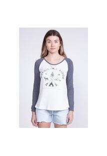 Camiseta Oneill Manga Longa Estampada Hurricane Cinza