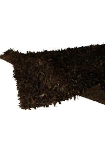 Tapete Decorativo De Couro Shaggi Preto Pequeno