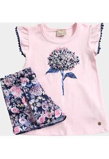 Conjunto Infantil Milon Blusa + Short Estampado Feminino - Feminino-Rosa