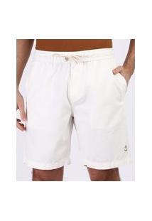 Bermuda De Sarja Masculina Relaxed Com Bolsos Off White
