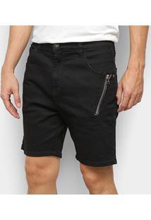 Bermuda Jeans Ellus Black Rock Elastic (Urban) Det Ziper Masculina - Masculino-Oliva