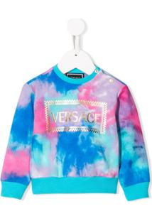 Young Versace Blusa De Moletom Com Estampa Tie-Dye - Azul
