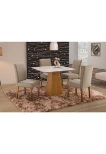 Conjunto De Mesa De Jantar Com 4 Cadeiras E Tampo De Madeira Maciça Turquia Iii Suede Cinza E Off White