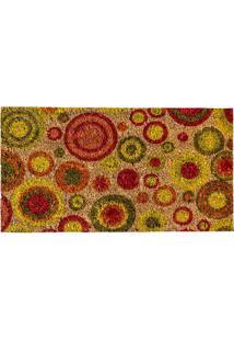 Capacho Círculos- Vermelho & Amarelo- 60X33Cm- Aagi Tapetes