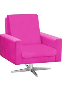 Poltrona Decorativa Beatriz Suede Pink Com Base Giratória Estrela Aço Cromado - D'Rossi