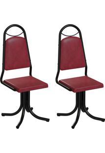 Conjunto Com 2 Cadeiras Sydney Vinho E Preto