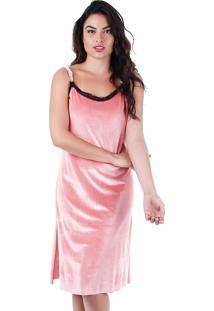 Vestido Veludo Feminina Brenda Lee - Rosa