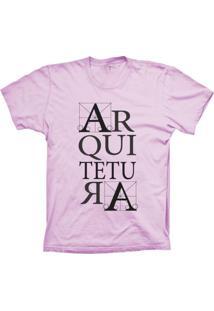 Camiseta Baby Look Lu Geek Arquitetura Rosa