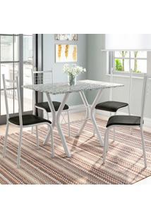 Conjunto De Mesa Miame Com 4 Cadeiras Lisboa Branco Prata E Preto