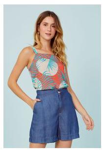 Bermuda Jeans Alfaiataria Azul Medio/36