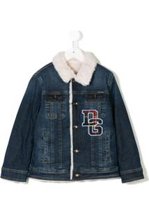 Dolce & Gabbana Kids Jaqueta Jeans Com Logo - Azul
