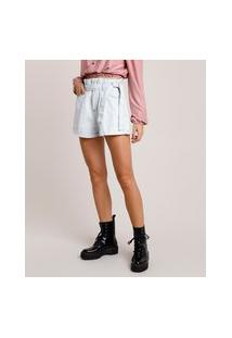 Short Jeans Feminino Clochard Cintura Super Alta Com Faixa Para Amarrar Azul Claro